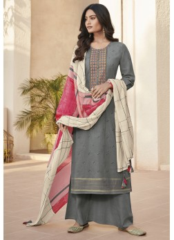 Floral Abstract Print Grey Linen Designer Pakistani Suit