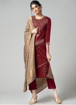 Floral Chanderi Maroon Pant Style Suit