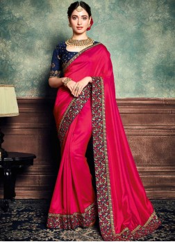 Floral Hot Pink Embroidered Art Silk Classic Saree
