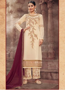 Flower Design Embroidery Work Pant Style Salwar Suit In Cream