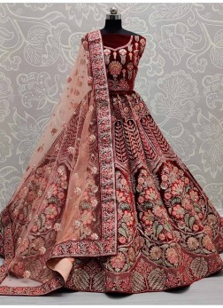 Flower Design With Sequence Work Lehenga Choli For Bride In Maroon