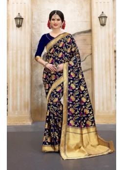 navyblue and red flower patterned banarasi silk sarees