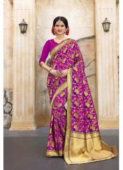 pink and golden touch up flower patterned banarasi silk sarees