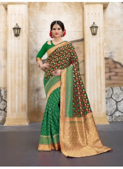 green and goldern color flower patterned banarasi silk sarees