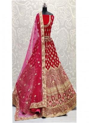Flower Pot Design Embroidery Velvet Lehenga Choli In Pink