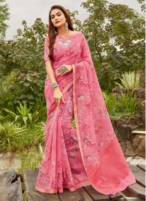 Flower Print Designer Saree On Organza In Pink