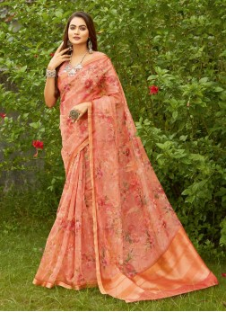 Flower Printed On Organza Saree In Light Coral