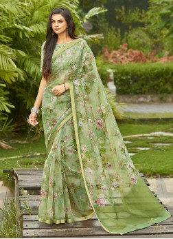 Flower Printed On Organza Saree In Olive Green