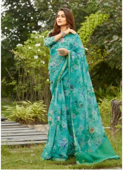Flower Printed On Organza Saree In Turquoise