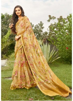 Flower Printed On Organza Saree In Yellow