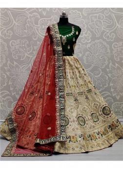 Full Embroidery Bridal Ghagra Choli In Off-White - Green