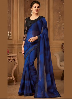 Georgette Border Blue Trendy Saree
