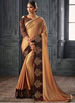 Georgette Classic Saree in Gold