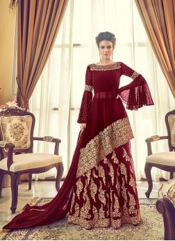 Georgette Designer Lehenga Choli in Maroon
