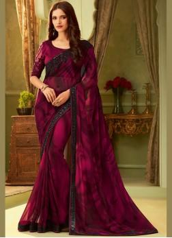 Georgette Designer Saree in Rani