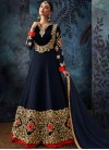 Georgette Embroidered Anarkali Salwar Suit in Blue