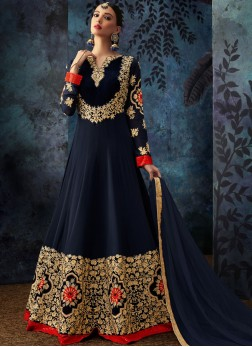 Georgette Embroidered Anarkali Salwar Suit in Blue