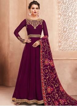 Georgette Embroidered Anarkali Salwar Suit in Magenta