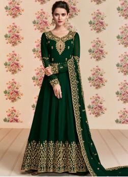 Georgette Embroidered Black Anarkali Suit