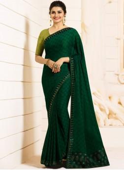Georgette Green Classic Saree