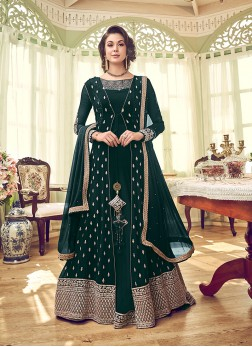 Georgette Green Embroidered Designer Pakistani Salwar Suit