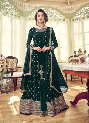 Georgette Green Embroidered Designer Pakistani Salwar Suit