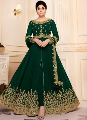 Georgette Green Embroidered Designer Bollywood Salwar Suit