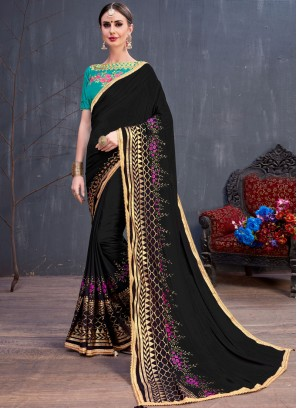 Georgette Lace Black Classic Saree