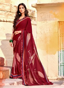 Georgette Maroon Casual Saree