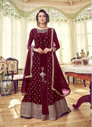 Georgette Maroon Designer Pakistani Salwar Kameez