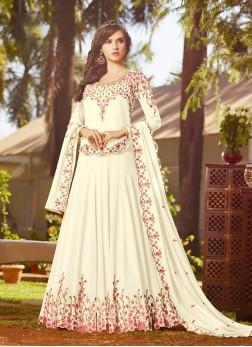 Georgette Off White Anarkali Salwar Kameez