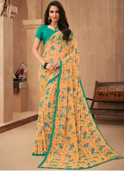Georgette Orange Trendy Saree
