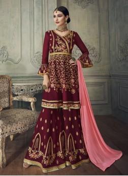 Georgette Palazzo Designer Salwar Suit in Maroon