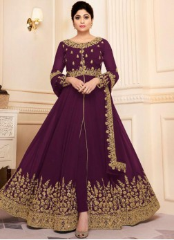 Georgette Purple Designer Bollywood Salwar Kameez