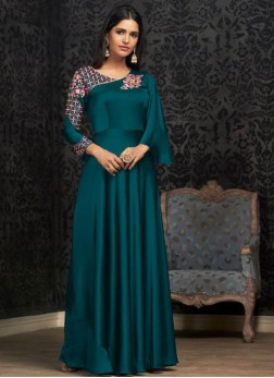 Georgette Readymade Designer Gown in Teal