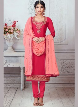 Georgette Satin Churidar Suit in Hot Pink