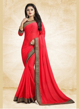Georgette Satin Classic Saree in Red
