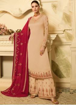 Georgette Satin Cream Designer Palazzo Salwar Suit