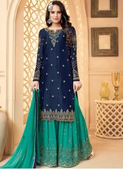 Georgette Satin Designer Palazzo Salwar Suit in Blue