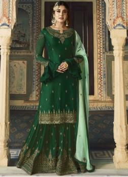 Georgette Satin Designer Salwar Suit in Green