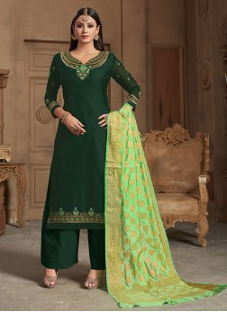 Georgette Satin Embroidered Green Designer Straight Suit