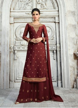 Georgette Satin Embroidered Maroon Designer Palazzo Suit