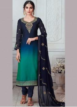 Georgette Satin Green and Navy Blue Embroidered Churidar Designer Suit