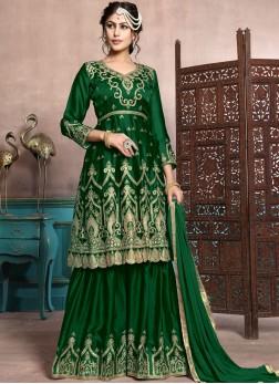 Georgette Satin Green Palazzo Designer Salwar Kameez