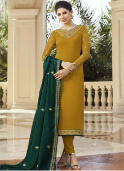 Georgette Satin Pant Style Suit in Mustard