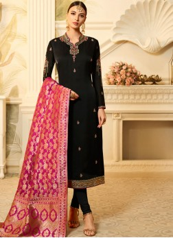 Georgette Satin Stone Black Churidar Designer Suit