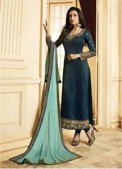 Georgette Satin Teal Embroidered Designer Pakistani Suit