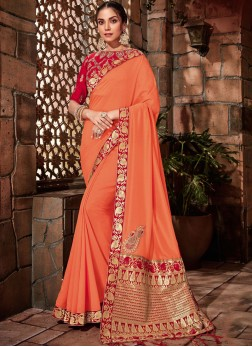 Georgette Zari Orange Designer Saree