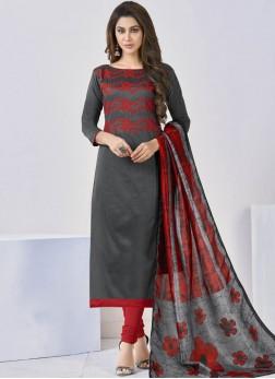 Girlish Cotton Grey Churidar Salwar Kameez