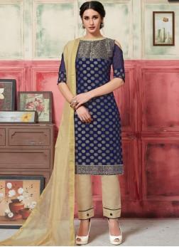 Girlish Jacquard Silk Navy Blue Weaving Designer Suit